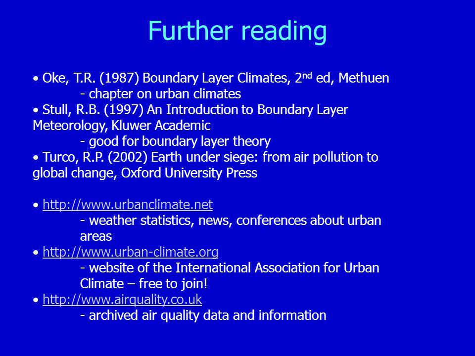 Further reading Oke, T.R. (1987) Boundary Layer Climates, 2nd ed, Methuen. - chapter on urban climates.