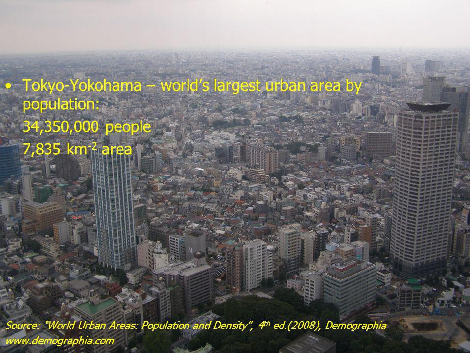 Tokyo-Yokohama – world's largest urban area by population: