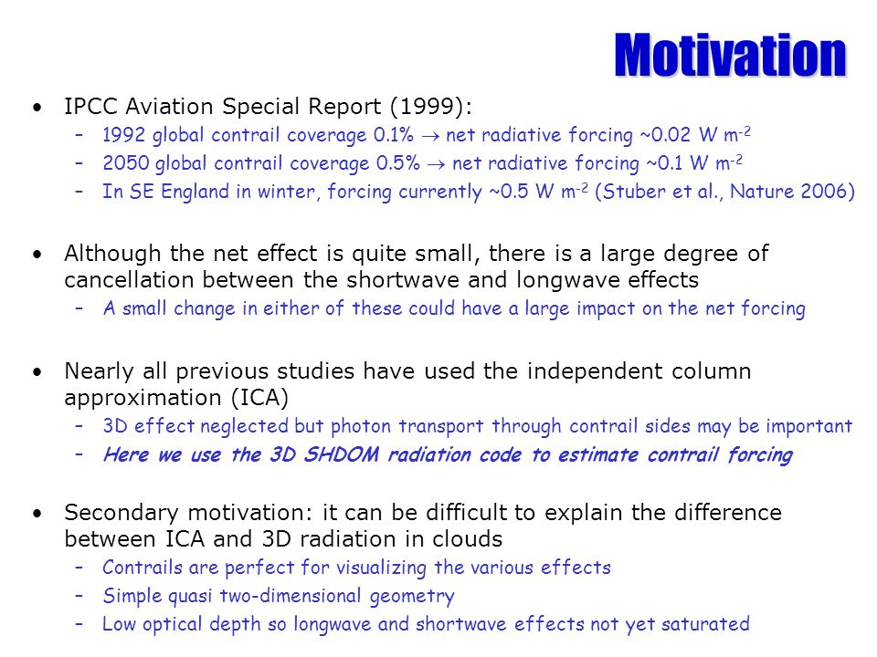Motivation IPCC Aviation Special Report (1999):