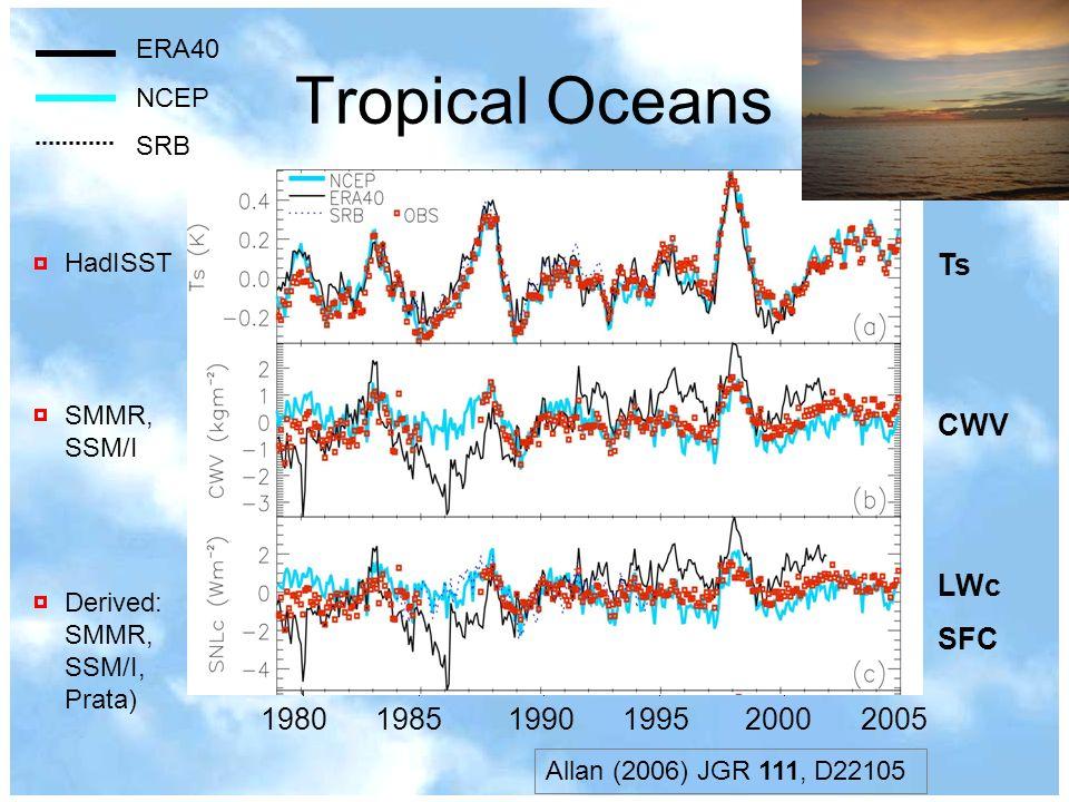 Tropical Oceans Ts CWV LWc SFC 1980 1985 1990 1995 2000 2005 ERA40