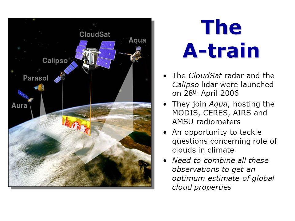 The A-train The CloudSat radar and the Calipso lidar were launched on 28th April 2006.