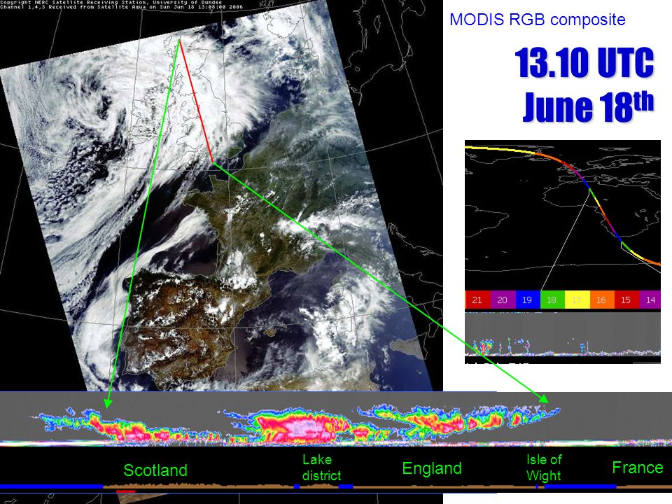 13.10 UTC June 18th MODIS RGB composite France Scotland England Lake
