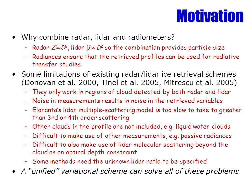 Motivation Why combine radar, lidar and radiometers