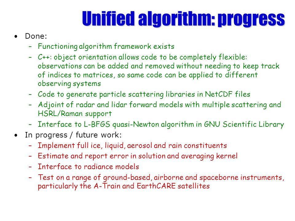 Unified algorithm: progress