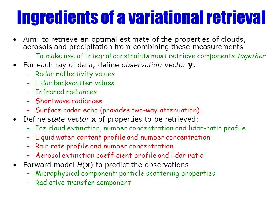 Ingredients of a variational retrieval