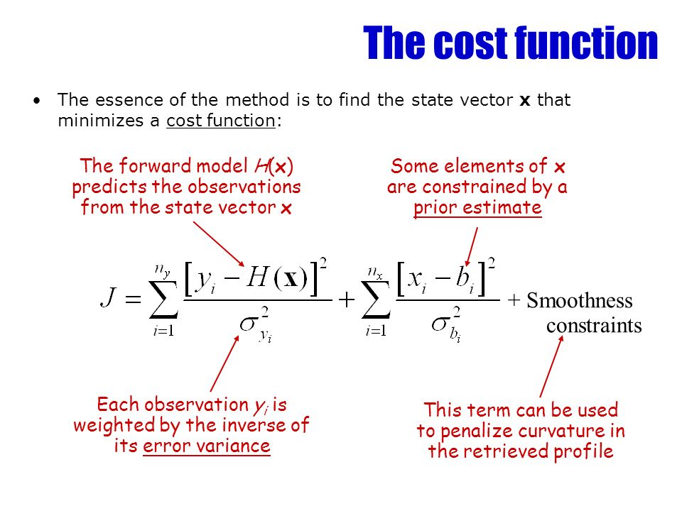 The cost function + Smoothness constraints