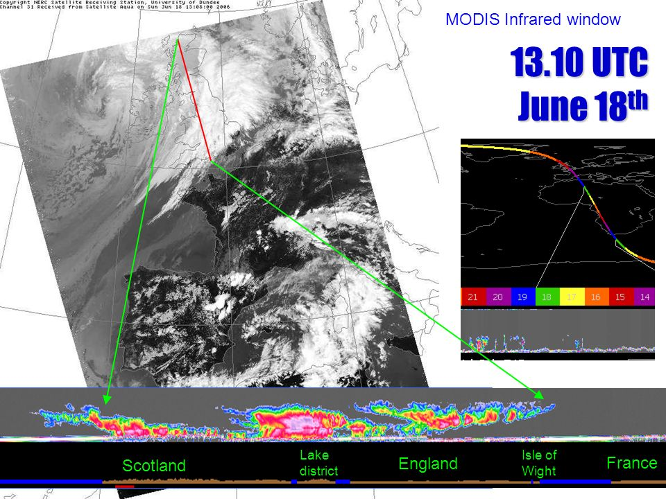 13.10 UTC June 18th MODIS Infrared window France Scotland England Lake