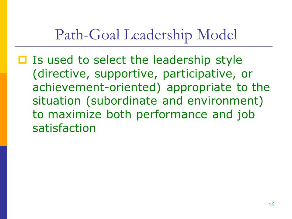 achievement oriented leadership style Path-goal leadership theory the path-goal model is a theory based on specifying a leader's style or behavior that best fits the employee and work environment in.
