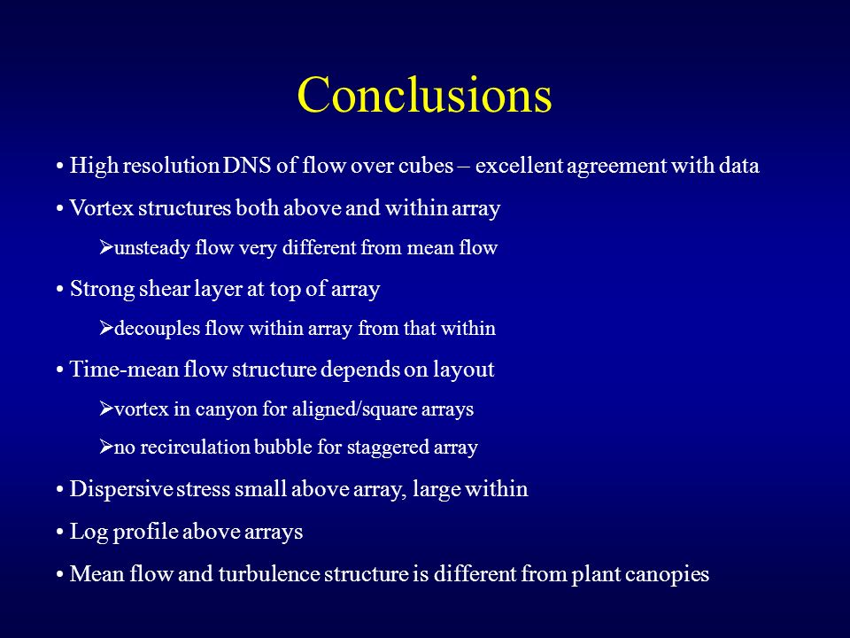 Conclusions High resolution DNS of flow over cubes – excellent agreement with data. Vortex structures both above and within array.