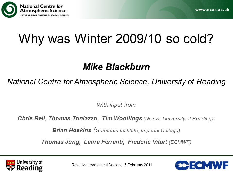 Why was Winter 2009/10 so cold Mike Blackburn