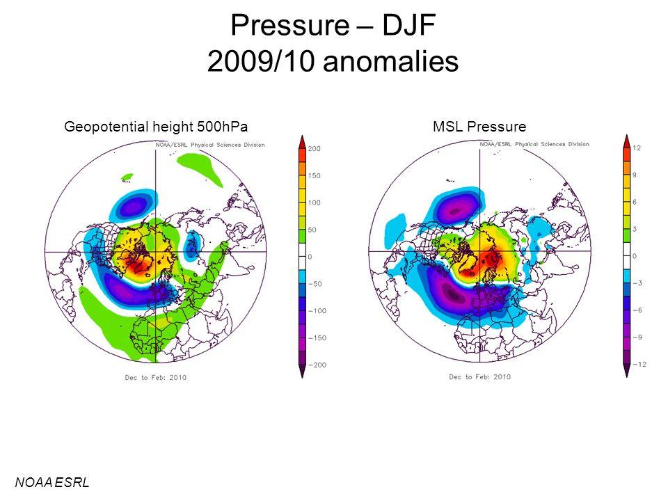 Pressure – DJF 2009/10 anomalies