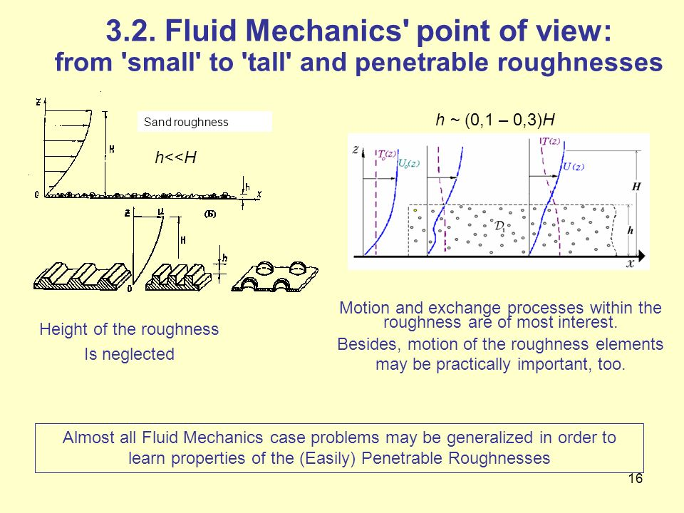 3.2. Fluid Mechanics point of view: from small to tall and penetrable roughnesses