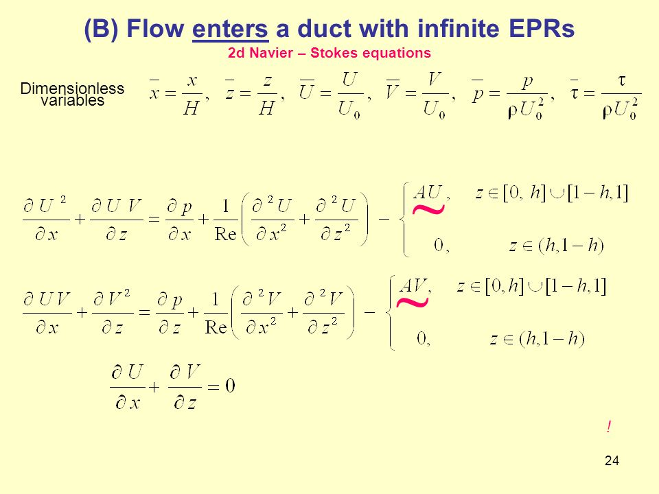 (B) Flow enters a duct with infinite EPRs 2d Navier – Stokes equations