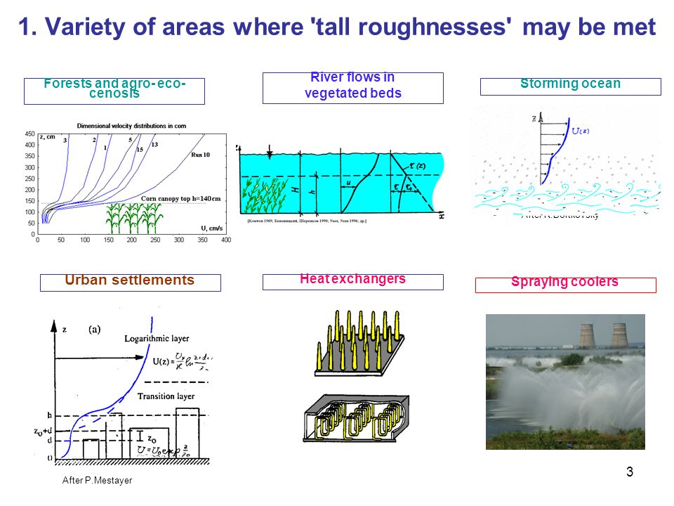 1. Variety of areas where tall roughnesses may be met