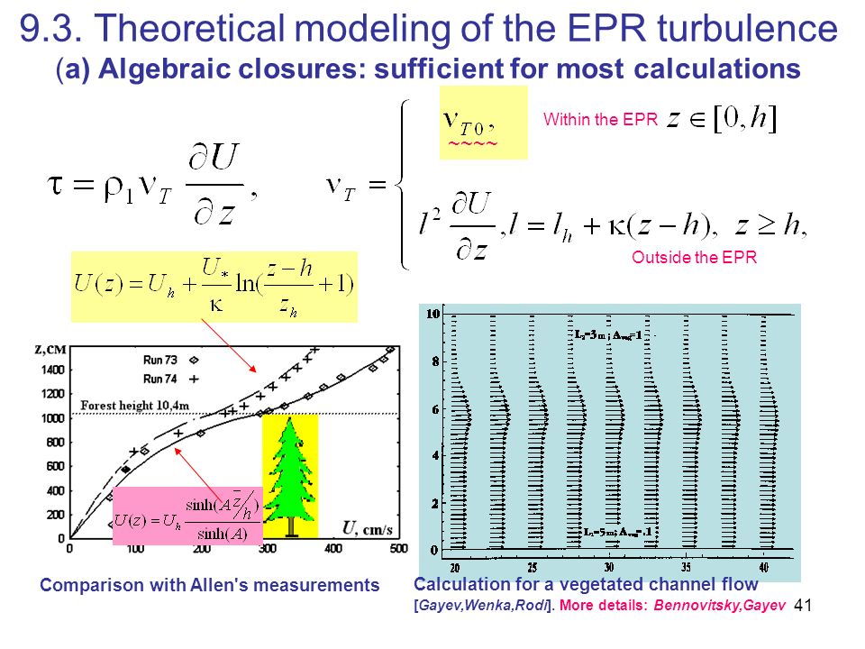9.3. Theoretical modeling of the EPR turbulence (a) Algebraic closures: sufficient for most calculations