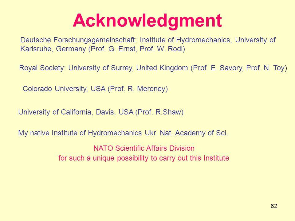 Acknowledgment Deutsche Forschungsgemeinschaft: Institute of Hydromechanics, University of Karlsruhe, Germany (Prof. G. Ernst, Prof. W. Rodi)