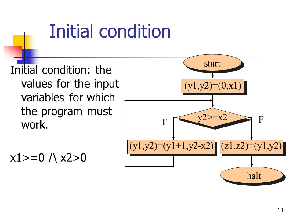 Initial condition start. Initial condition: the values for the input variables for which the program must work.