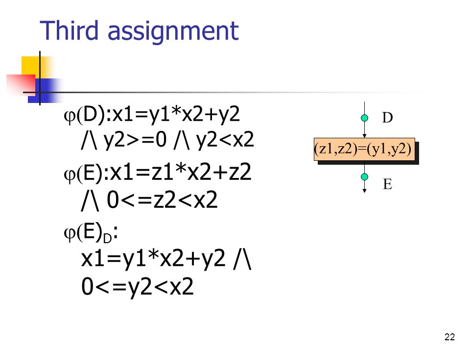 Third assignment D):x1=y1*x2+y2 /\ y2>=0 /\ y2<x2