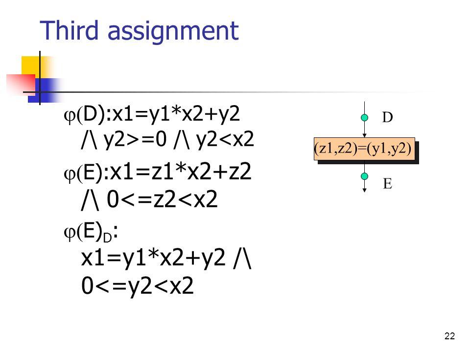 Third assignment D):x1=y1*x2+y2 /\ y2>=0 /\ y2<x2