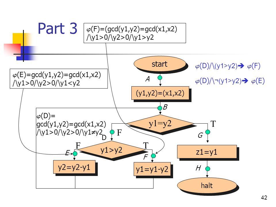 Part 3 y1=y2 T F F T start y1>y2 z1=y1 y2=y2-y1 y1=y1-y2