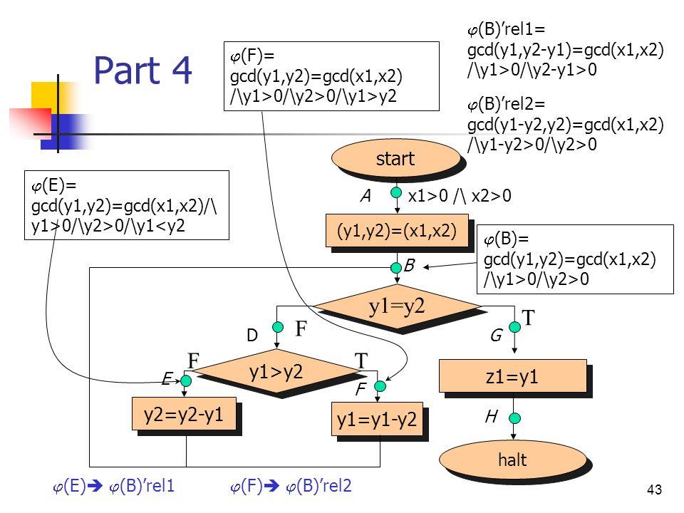 Part 4 y1=y2 T F F T start y1>y2 z1=y1 y2=y2-y1 y1=y1-y2