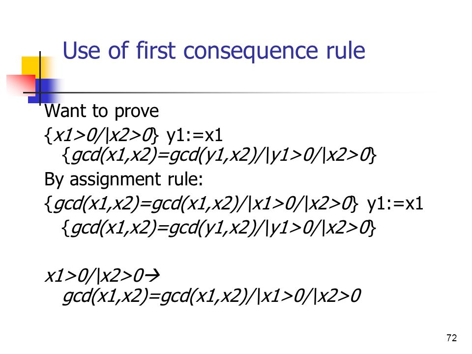 Use of first consequence rule