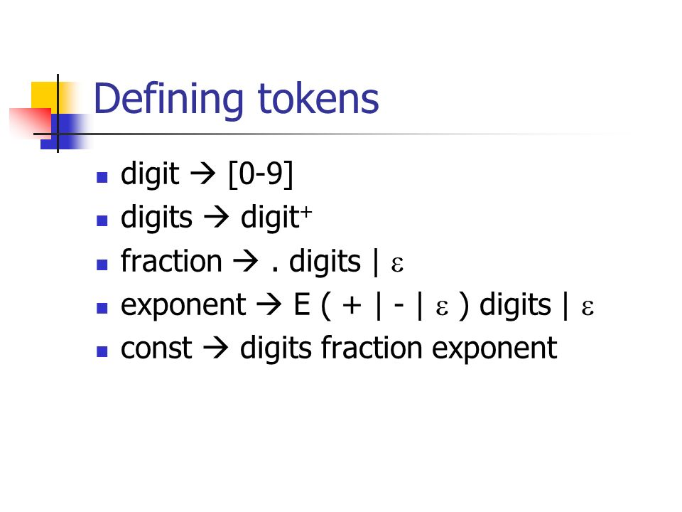 Defining tokens digit  [0-9] digits  digit+ fraction  . digits | 