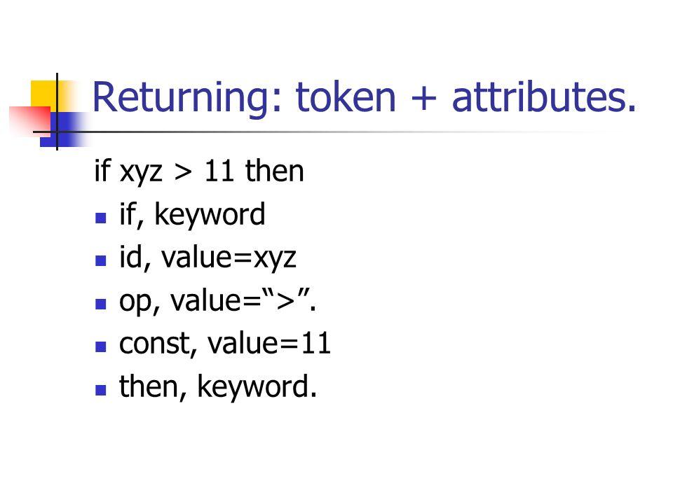 Returning: token + attributes.