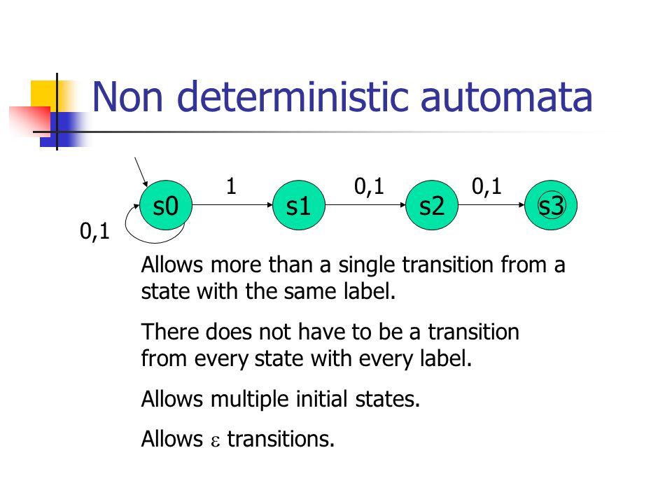 Non deterministic automata