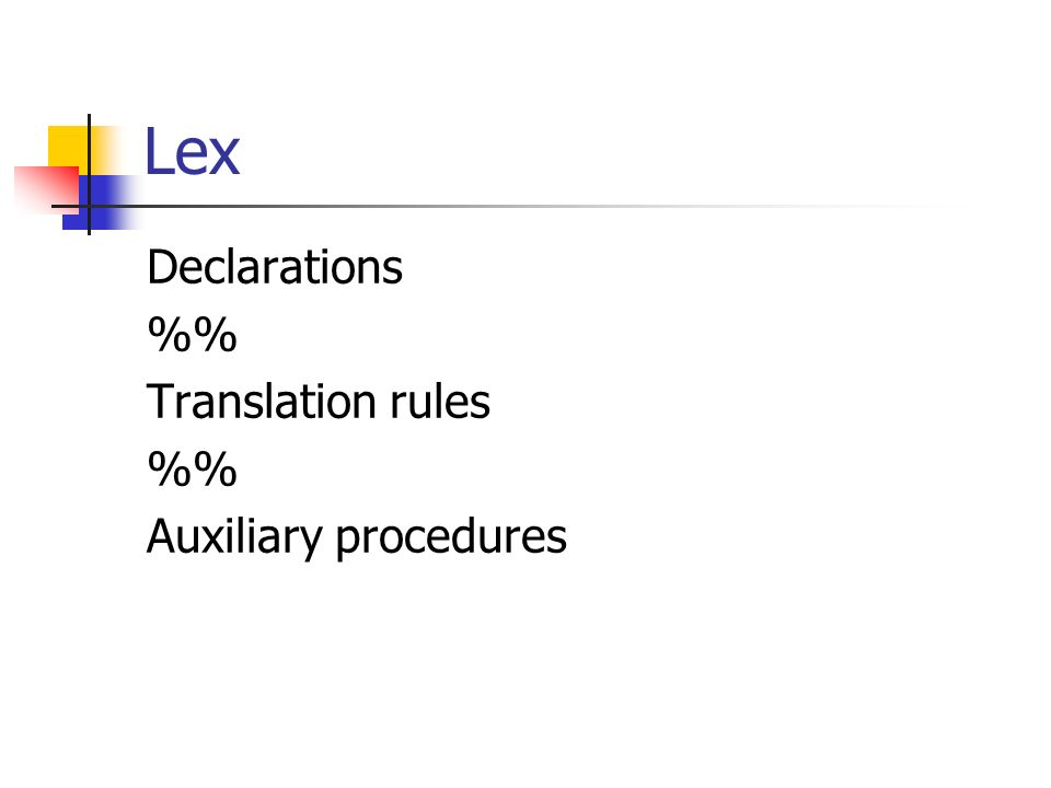 Lex Declarations %% Translation rules Auxiliary procedures