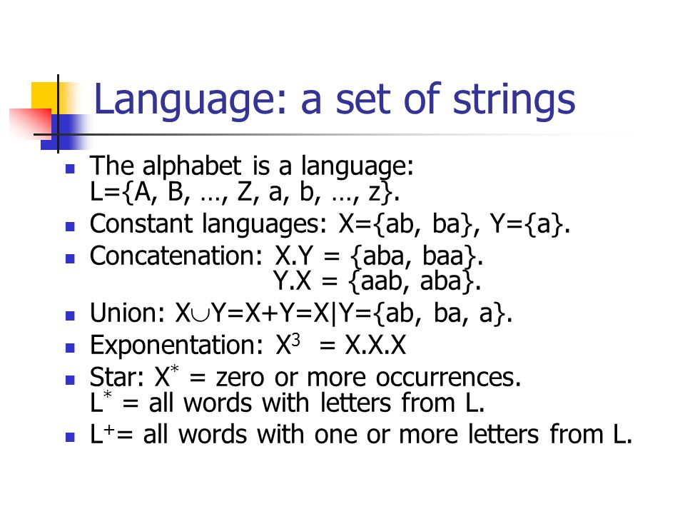 Language: a set of strings