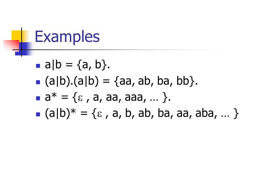 Examples a|b = {a, b}. (a|b).(a|b) = {aa, ab, ba, bb}.