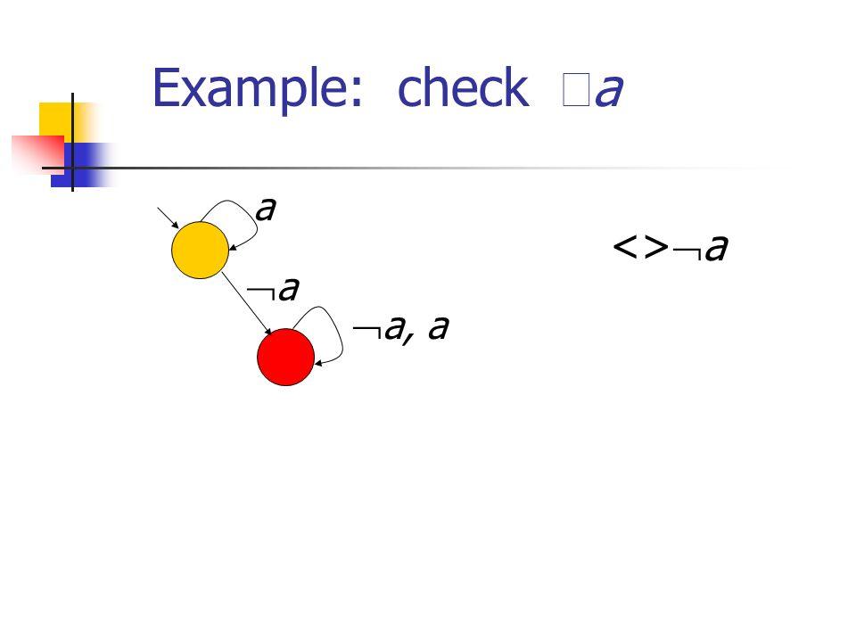 Example: check a a, a a a <>a