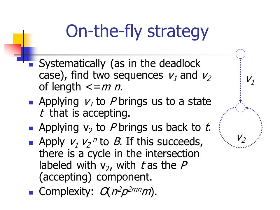 On-the-fly strategy Systematically (as in the deadlock case), find two sequences v1 and v2 of length <=m n.