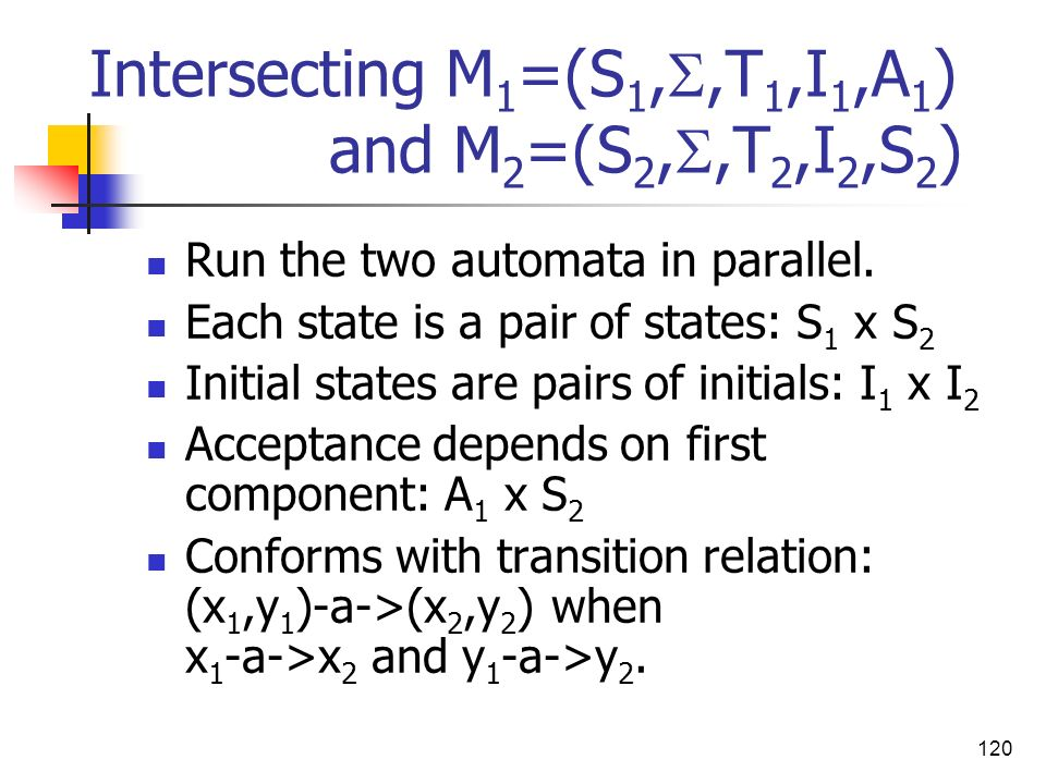 Intersecting M1=(S1,,T1,I1,A1) and M2=(S2,,T2,I2,S2)