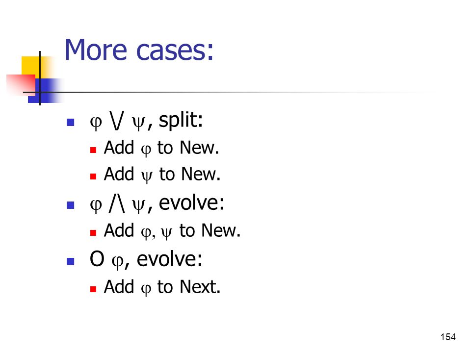 More cases:  \/ , split:  /\ , evolve: O , evolve: Add  to New.