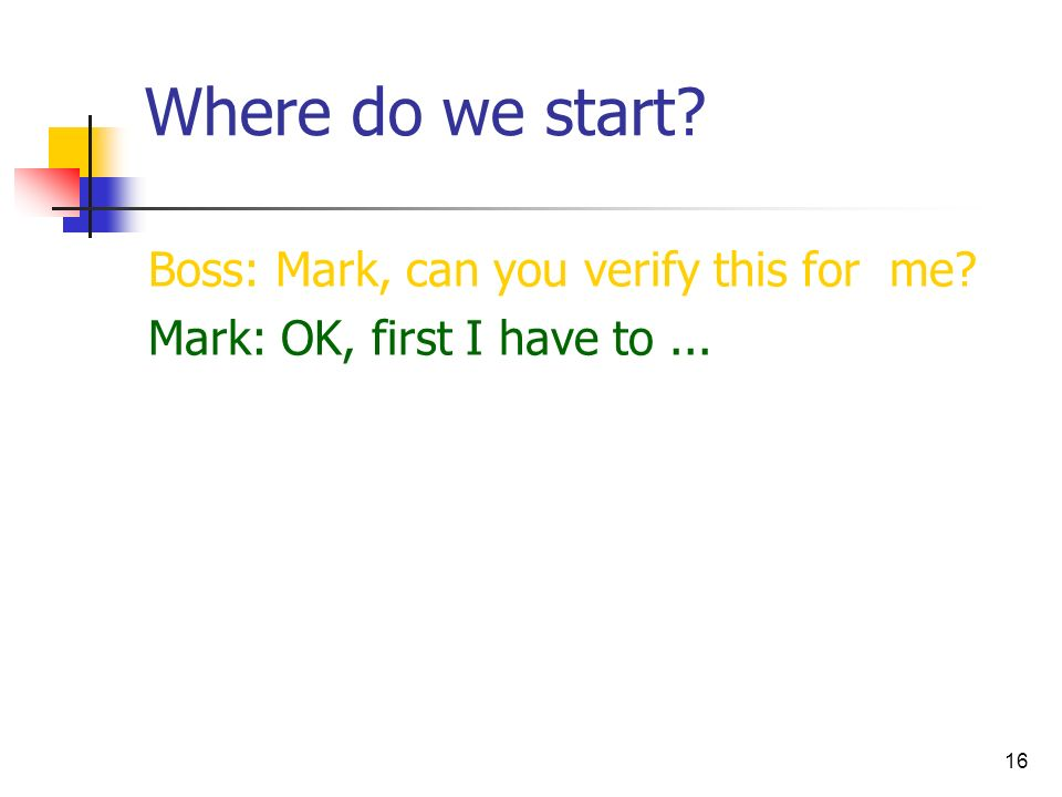 Where do we start Boss: Mark, can you verify this for me