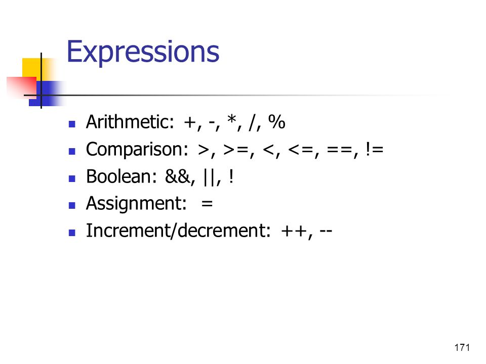 Expressions Arithmetic: +, -, *, /, %