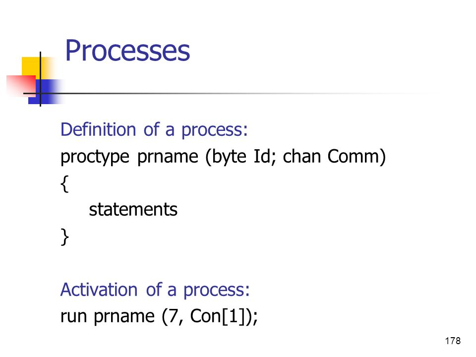 Processes Definition of a process: