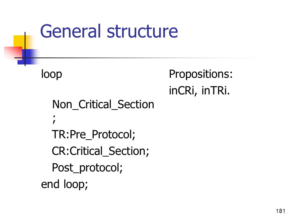 General structure loop Non_Critical_Section; TR:Pre_Protocol;