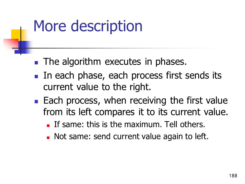 More description The algorithm executes in phases.
