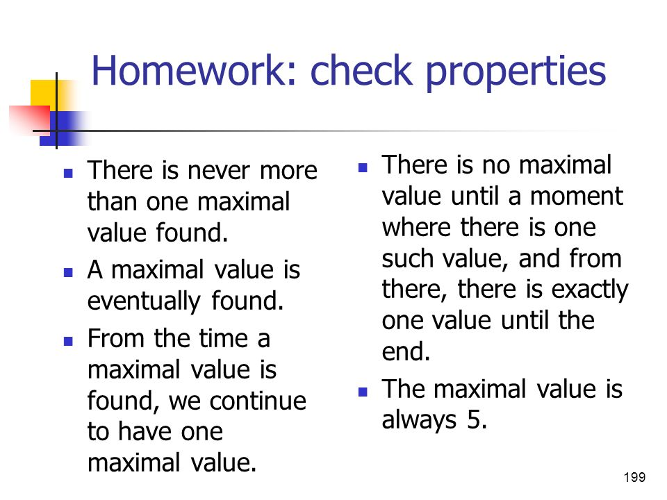 Homework: check properties