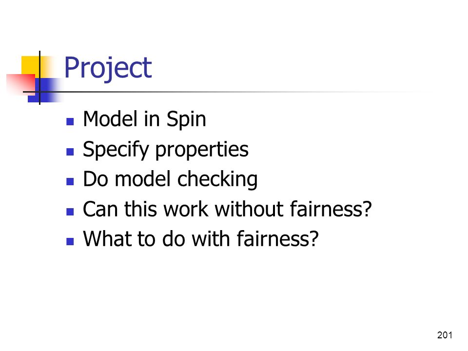 Project Model in Spin Specify properties Do model checking