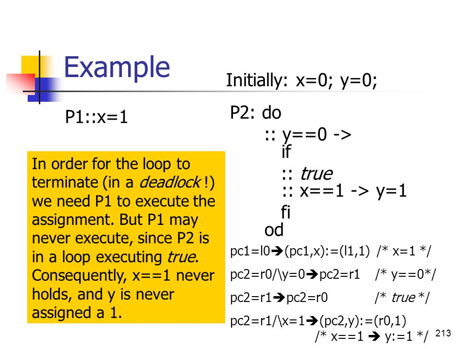 Example Initially: x=0; y=0; P1::x=1 P2: do :: y==0 -> if