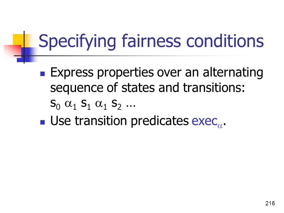 Specifying fairness conditions