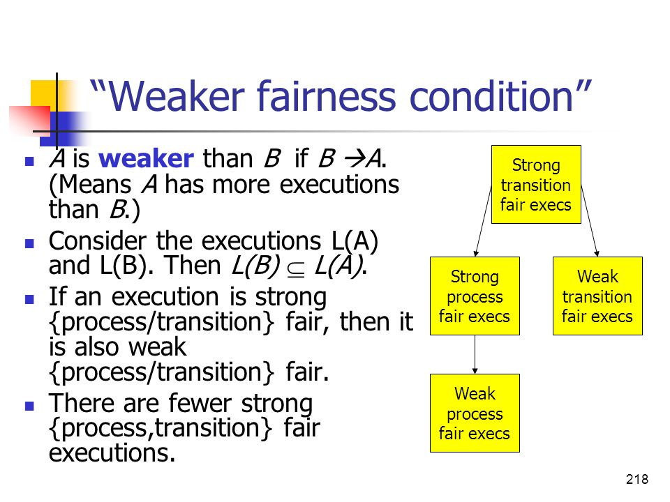 Weaker fairness condition