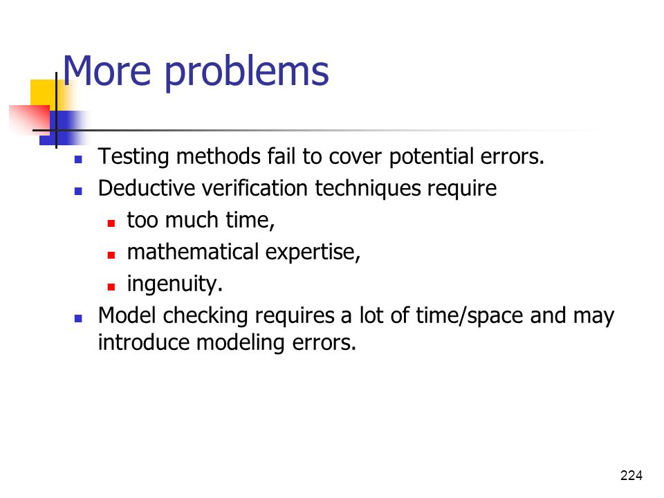 More problems Testing methods fail to cover potential errors.