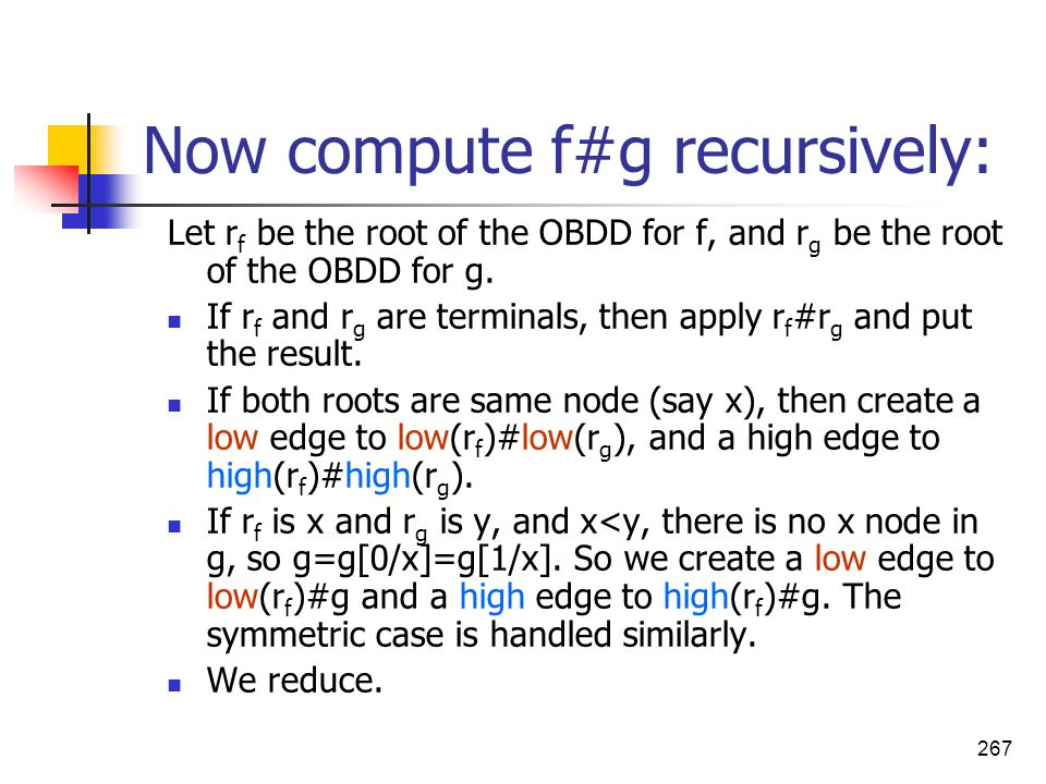 Now compute f#g recursively: