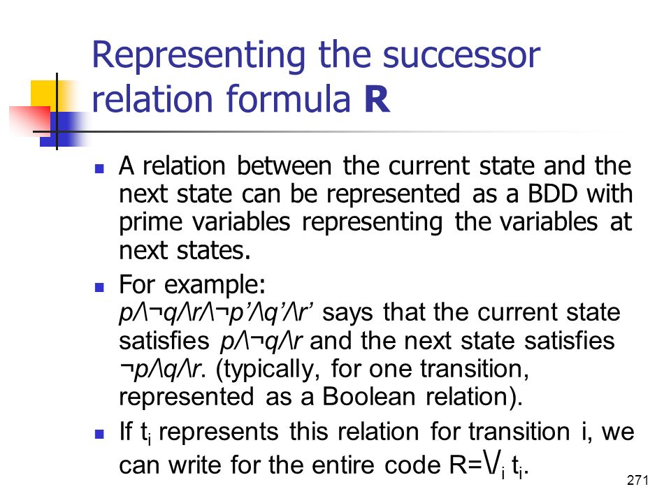 Representing the successor relation formula R