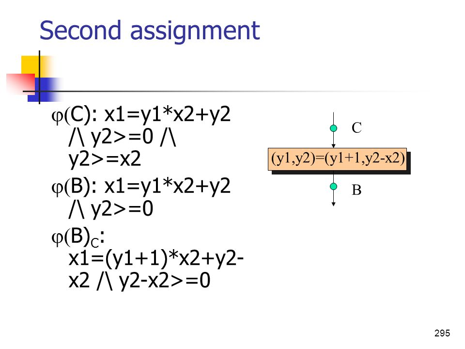 Second assignment C): x1=y1*x2+y2 /\ y2>=0 /\ y2>=x2